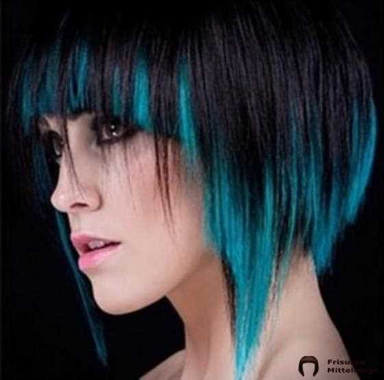 Schwarz And Turquoise Ombre Round Bob