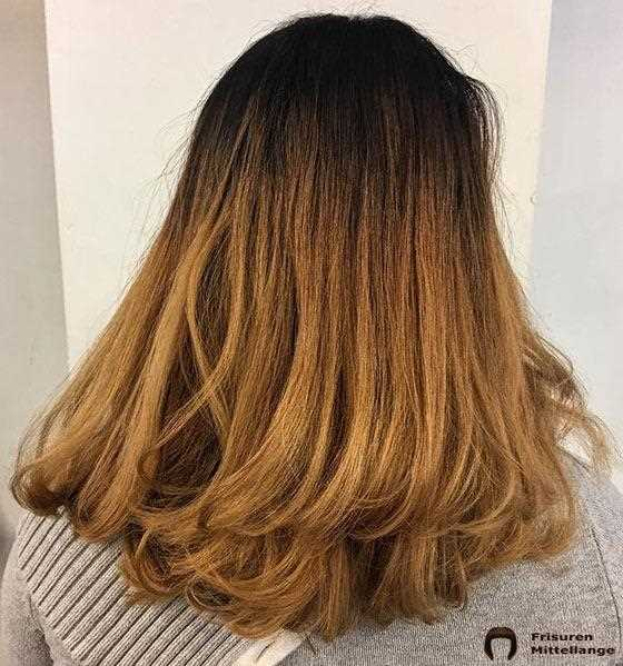 Golden Ombre On Flicked Out Ends